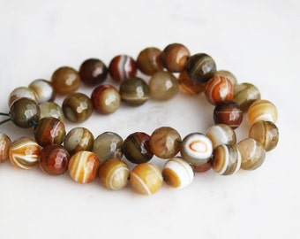 50% Off ENTIRE STORE // A2-620-A13-10] Khaki Agate / 10mm / Faceted Round Ball Bead  / 1/2 strand