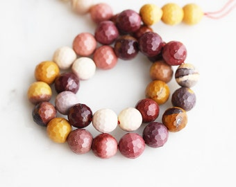 A2-645-10] Mookaite / 10mm / Faceted Round Ball Bead  / 1/2 strand