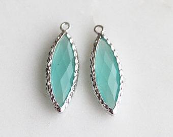 A2-148-R-MT] Mint / 10 x 25mm / Rhodium plated / Marquise Glass Pendant / 2 piece(s)
