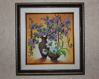 "Pictures embroidered with beads ""Lilac"""