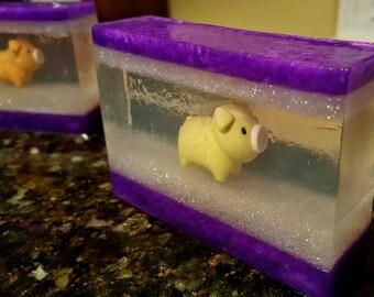 Piggy Energy / Home Made Soap Bar / Melt and Pour Soap / Glycerin Soap /  Piggy Eraser / Kid Soap