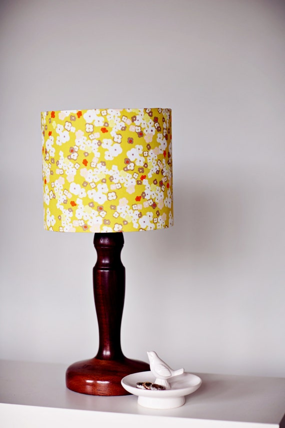 mustard floral 25cm 10 inch drum lampshade by. Black Bedroom Furniture Sets. Home Design Ideas