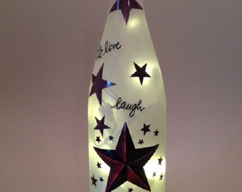 Live, Laugh, Love Country Stars Wine Bottle Light