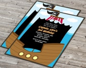50% OFF SALE - Pirate Birthday Invitations - Kids Pirate Birthday Party Invitation, Invitation Pirate Ship, Digital File You Print