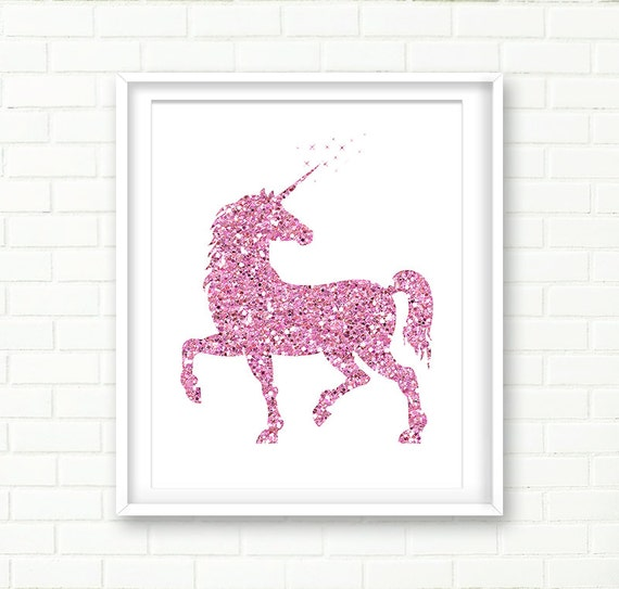 Illustration de la licorne sticker imprimable paillettes for Decoration murale licorne