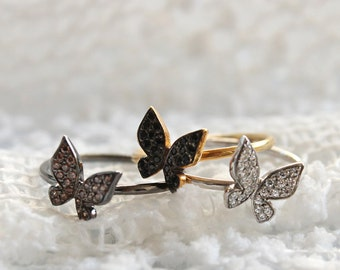 Butterfly Ring, Solid Gold Ring, Solid Gold Butterfly, Butterfly Stack Ring, Butterfly CZ Ring, 14k Butterfly Ring, Butterfly jewelry, Gift