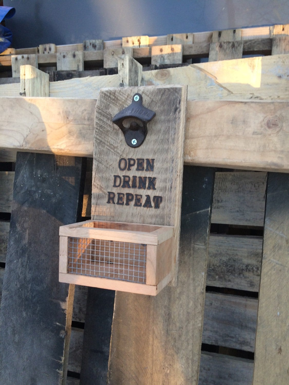 Beer Bottle Opener Custom Wood Wall Mounted Opener With Cap