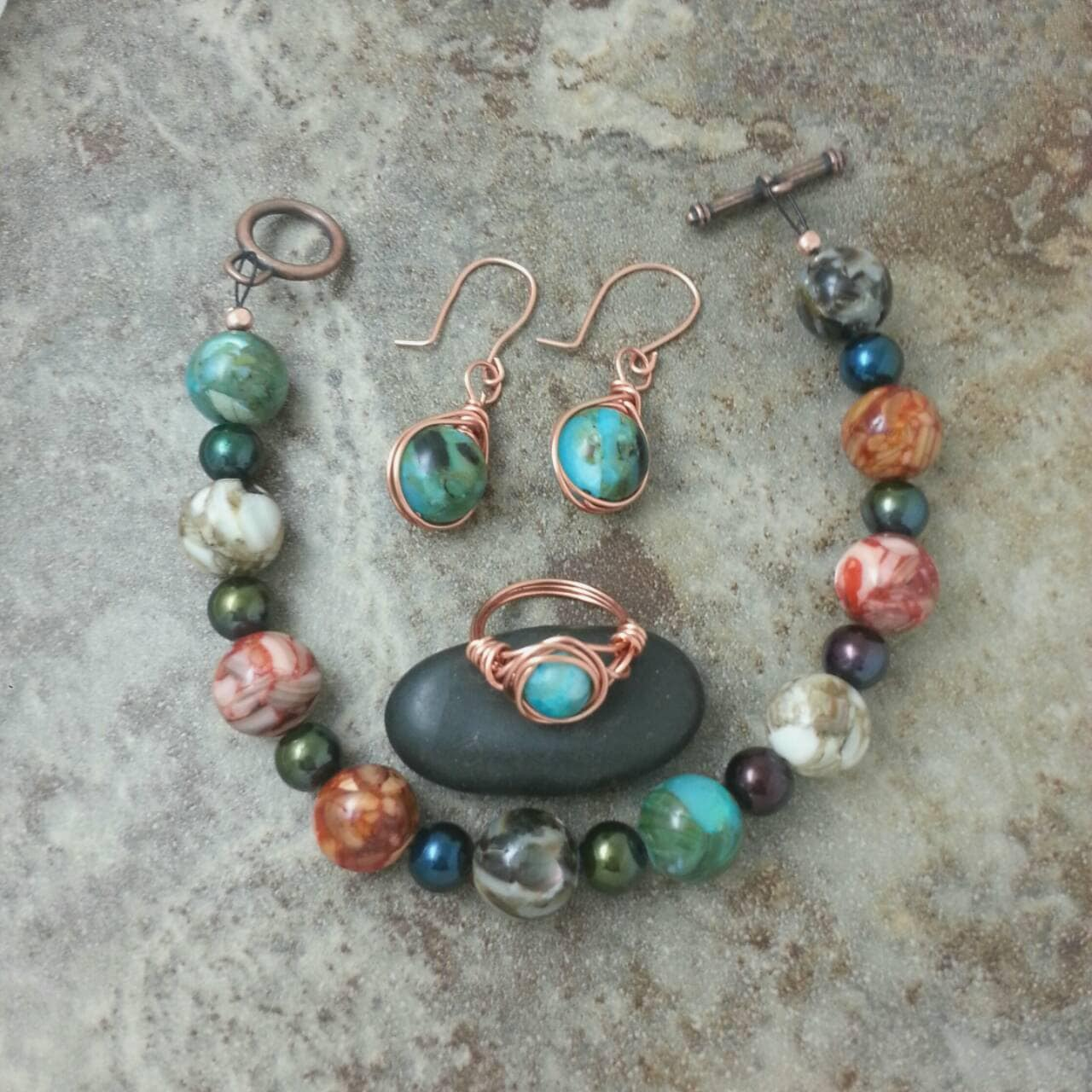 copper jewelry set shell ring earrings and by mistymtnshop