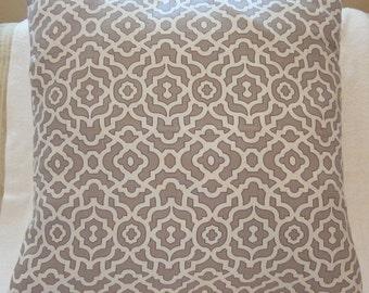 Silver Grey Trelllis Pillow Cover 21x21 - Throw Pillow Cover - Grey Decor - Silver Decor - Geometric Pillow Case - Throw Pillow Cover Sham