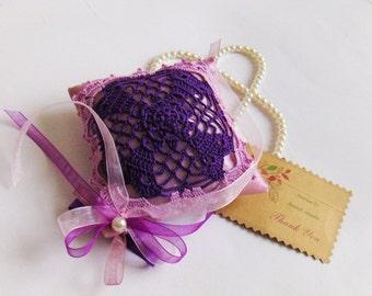 Crochet applique on organza, purple, pink, drawer lavender sachet, pouch, handmade, gift, clothe hanger, wall decor