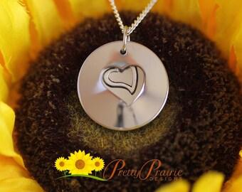 Hidden Birthdate or Wedding Date Heart Jewelry - Custom Hand Stamped Necklace - Double Stainless Steel Hidden Necklace - Anniversary Gift