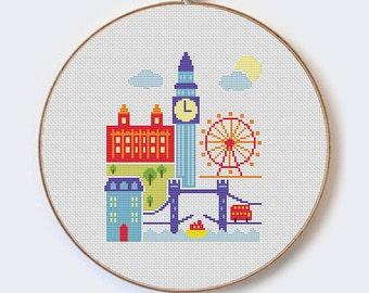 London - modern cross stitch pattern - PDF format - instant download  Buy 2 Get 1 Free