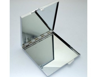 mirror compact, square, metal, accessories