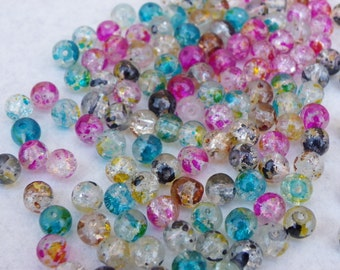 150 beads 6 mm painted crackled glass has the bomb and transparent