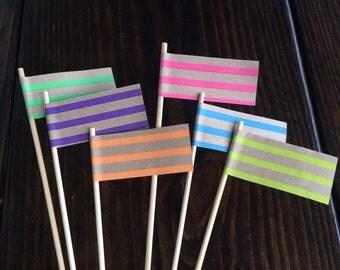 Neon Striped Pennant Flag Drink Stir Sticks