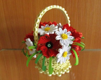 Items similar to quilling easter egg with flowers for Quilling home decor