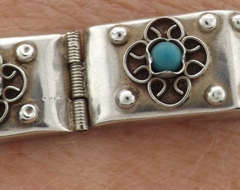 Silver and Turquoise Bracelet Signed JLT Guad Mex *