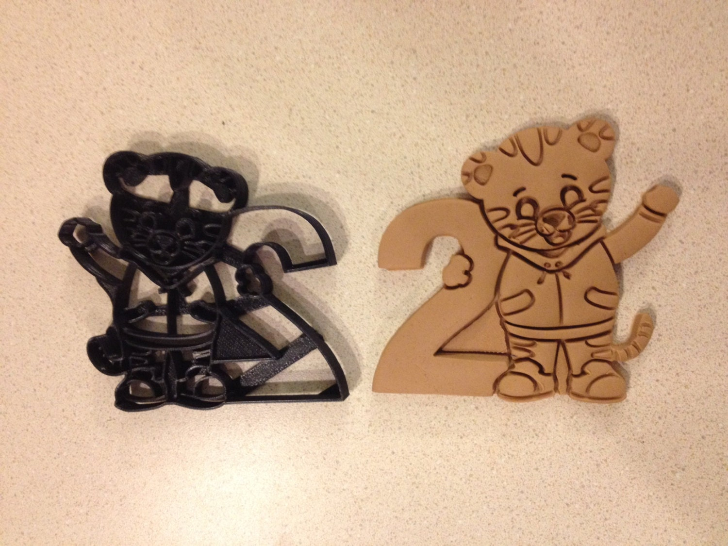 Daniel Tiger Holding Number 2 Cookie Cutter Second Year