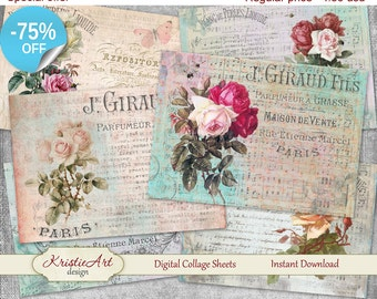 75% OFF SALE Paris Flowers - Digital Collage Sheet C020 Printable download Gift tags digital image cardmaking tags atc card roses vintage