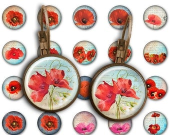 75% OFF SALE Red Poppies - 18mm, 16mm, 14mm, 12mm, 10mm Circles Digital Collage Sheets E-010 Printable for Earring, Rings, Jewelry Making