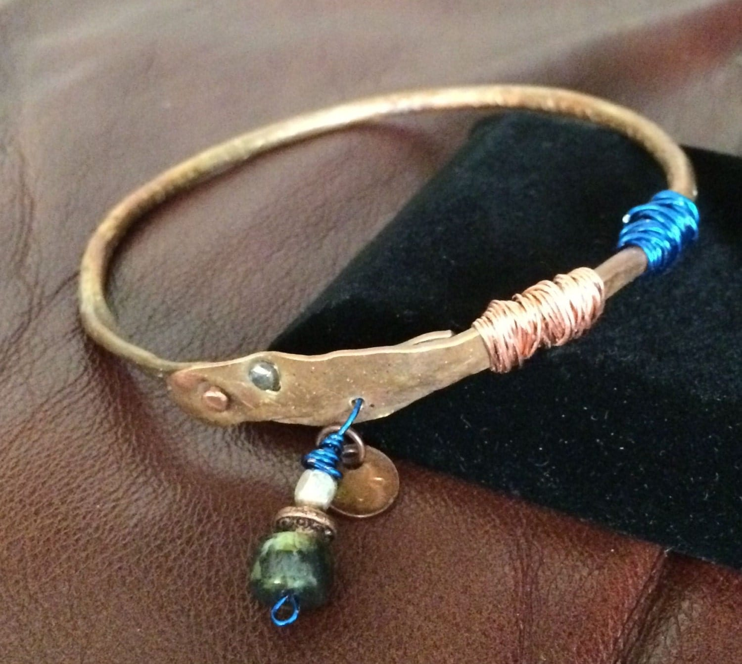 Hand forged boho copper bangle bracelet