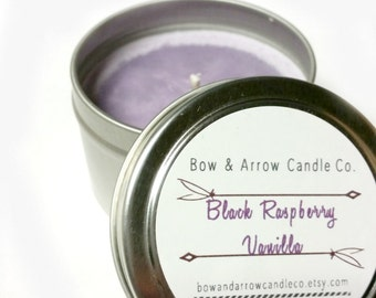 2 oz Natural Soy Candle Black Raspberry Vanilla Scented | 2 oz Tin Candle | Raspberry Scented | Black Raspberry | Fruity Candle | Gift Idea