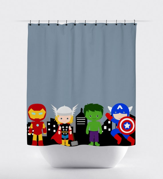 avengers blue superhero shower curtain superhero fabric