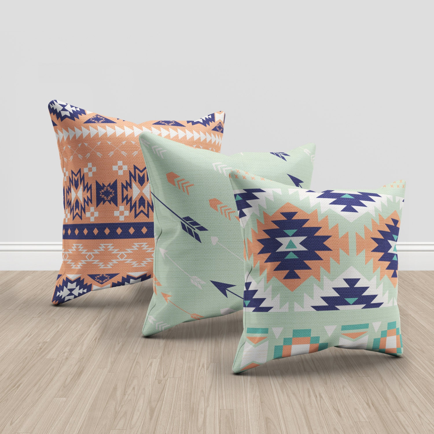 set of 3 aztec mint coral and blue throw pillows aztec throw