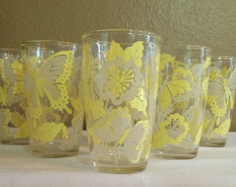 SALE - Yellow Butterfly Glasses - Set of 6