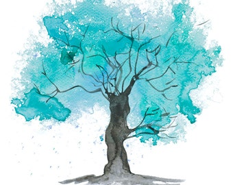 Fine Art Print of my Abstract Watercolour Tree Painting in Teal - available in sizes 7 x 5, 10 x 8, 12 x 10, 14 x 11, 16 x 12 and 20 x 16