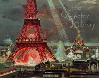 The Eiffel Tower in Red Digital Download: The Eiffel Tower is Surrounded by Glittering Paris and the Night Sky
