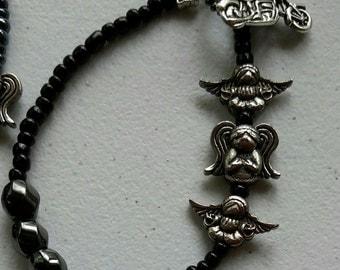 motorcycle and angel bracelet