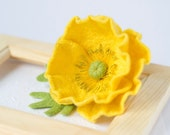 Poppy Brooch Yellow pin Poppy jewelry Felt poppies pins Yellow jewelry Yellow brooch Felt flower pin Statement brooch Original gift for Her