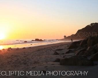 "Beach Photo, Sunset Photo, Coastline, Landscape, ""Sunset on the Beach"""