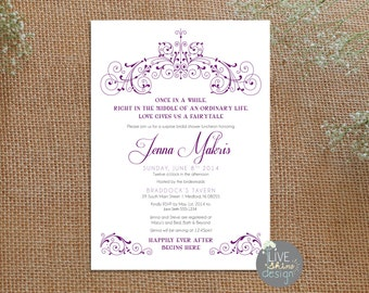 DIGITAL Bridal Shower Invitation - Princess, Fairy tale, Royalty