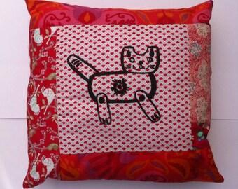 Marmalade Cat patchwork handsilkscreen cushion