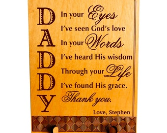Custom Dad Greeting Card, Dad Keepsake Plaque, Son to Dad Gift, Daughter to Dad Gift, Fathers day Gift, Dad Appreciation Gift. PLD002