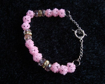 Handmade Pink Beadwoven Bracelet, Toggle Clasp, Rondelle Spacer Beads, Seed Beads