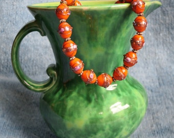 Unusual, Deep Orange Lampwork Bead Necklace