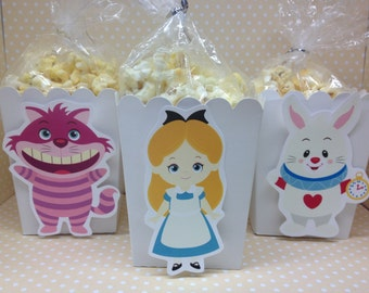 Alice In Wonderland-Mad Hatter Party Popcorn or Favor Boxes - Set of 10