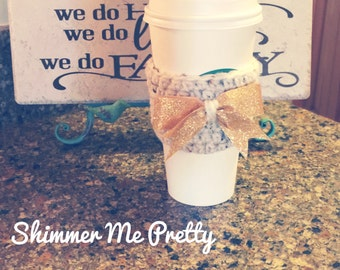 Shimmer Me Pretty Coffee Cozy // Gold Bow // Gold Sparkle