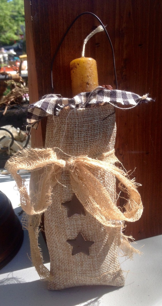 Items similar to small burlap bag decor on etsy for Decorative burlap bags