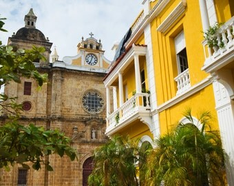 Church and building in old city Cartagena, Colombia