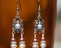 Crystal, Pearl and Glass Pearl Earrings, White Cream and Brown Pearl Earrings, Rust colored Glass and Crystal Earrings, Dangle Earrings