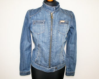 Blue Denim Jacket Ziped Denim Diesel Jacket  Washed Blue Jean Jacket with Zipper Size Small to Medium