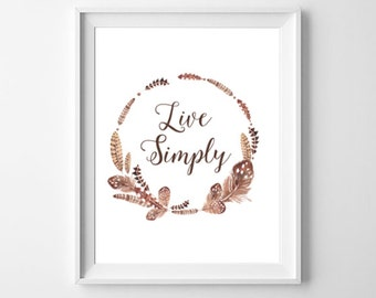 Live Simply Print, Quote Art, Printable Art, Inpirational Art