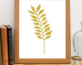 Kitchen Printable, 8x10 Gold Leaves Print, Golden Wheat Print, Instant Download, Gold White Art