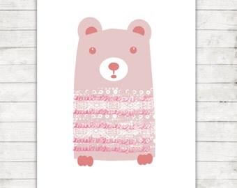 Printable Nursery Art, Little Bear Print, Digital Download, 8x10 Nursery Art, Woodland Nursery