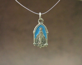 Vintage Catholic Miraculous Medal Pendant with blue enamel color and pretty design