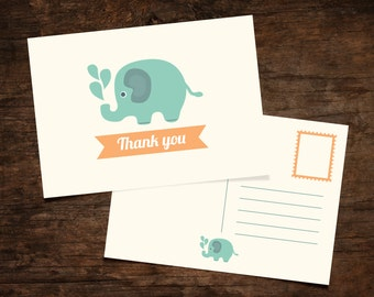 Baby Thank You Card / Elephant Postcard for Baby Shower / Printable Digital / INSTANT DOWNLOAD